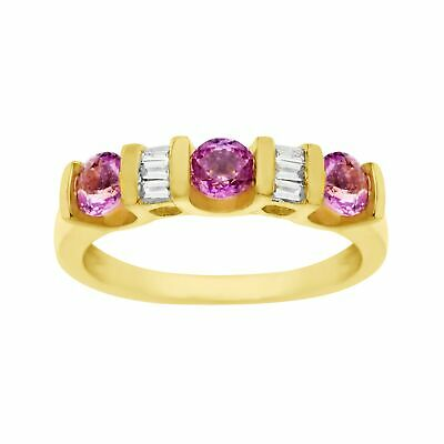 1 ct Natural Pink Sapphire & 1/8 ct Diamond Ring 14K Gold
