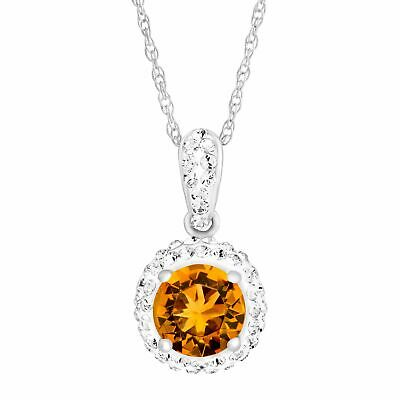 Crystaluxe November Pendant with Yellow Swarovski Crystals in Sterling Silver