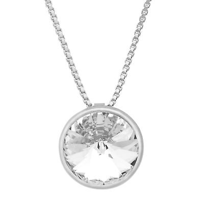 Crystaluxe Circle Pendant with White Swarovski Crystals in Sterling Silver