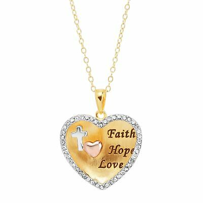 Engraved Heart Pendant with Swarovski Crystals, 18K Gold-Plated Sterling Silver