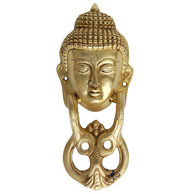 Door Hardware Fitting with Lord Buddha in yellow antique finish 20 cm long