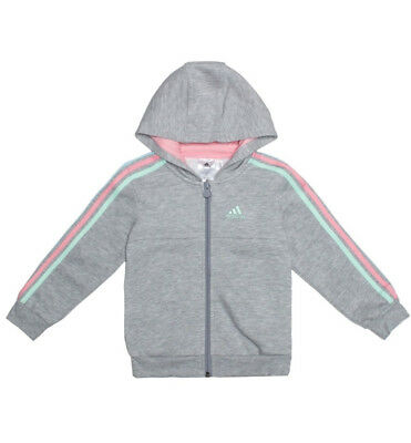 ADIDAS boys girls kids babies ZIP UP hoodies sweatshirts jackets clothes grey