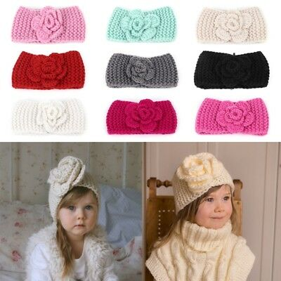 Knitted Baby Hair Band Headband Accessories Flower Warm For Girl Kids Head Wraps