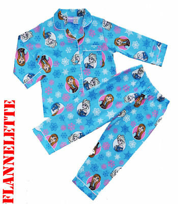 New Sz 3-8 Kids Winter Pyjamas Flannel Frozen Blue Sleepwear Nighties Pjs Pj