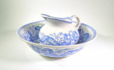 Antique French Porcelain Pitcher and Basin Blue and Cream Transferware