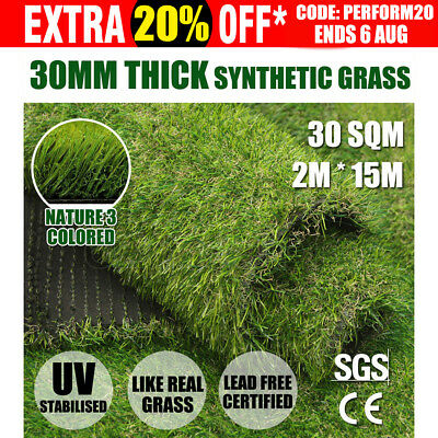 2*15 30SQM Synthetic Turf Artificial Grass Plastic Plant Fake Lawn Flooring 30mm