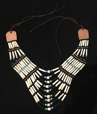 Indianer Choker Collier groß, Hairpipes, weiß/ türkis, top!