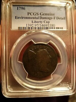 Large Cent 1796 Pcgs Genuine F Detail Liberty Cap