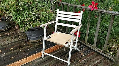 Folding Chair Vintage Chippy White Paint Wood Chair Shabby Chic Garden Camping