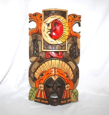 "Mayan Aztec Warrior Hand Carved Wood Mask 16 5/8"" Hand Painted Snakes,Moon,Sun"