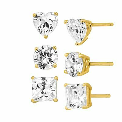 Stud Earring Set with White Cubic Zirconia in 18K Gold-Plated Sterling Silver