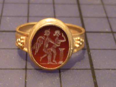 Roman Gold Finger Ring with Red Carnelian Intaglio Seal with Sexual Motif