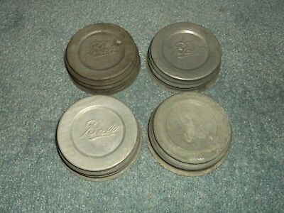 Lot of 4 Vintage Ball Zinc lids white porcelain lined for Regular Mouth Jars