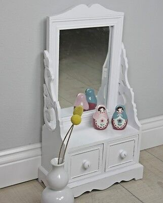 Make-up table vanity cupboard dressing White Antique Wood Cottage Mirror