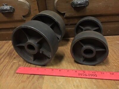 4 Vintage Cast Iron Wheels For Antique Gas Engine Cart Truck Hit Miss