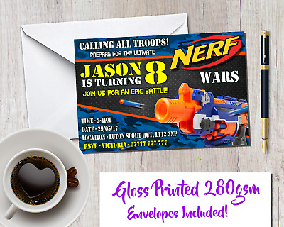 Personalised Army Nerf Themed Kids Party Invitations Including Envelopes INV198