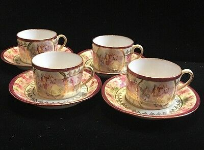 Set Of Four Vintage Germany Demitasse Cups And Saucers Victorian Scene (K)