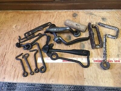 large Lot of Old Barn Hardware Gate Door Hooks Latches antique rustic restoratio