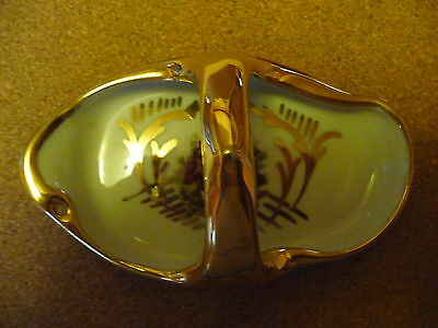Beautiful Limoges porcelain slipper - shaped pin tray or bon-bon dish - gilded.