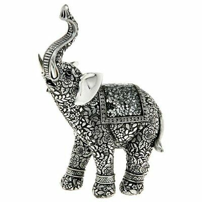 New Silver Elephant Figurine Ornament Gift Boxed 15cm 270143