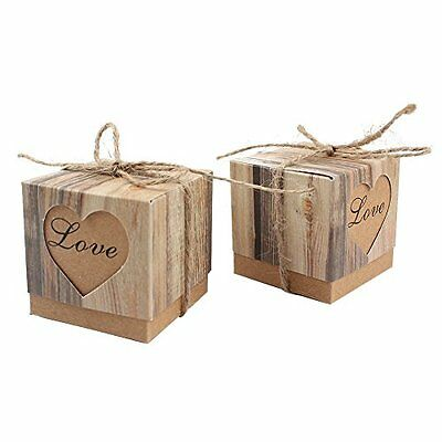 50pcs Decorative Boxes Candy Favor Vintage Kraft Bonbonniere Burlap Twine, Love
