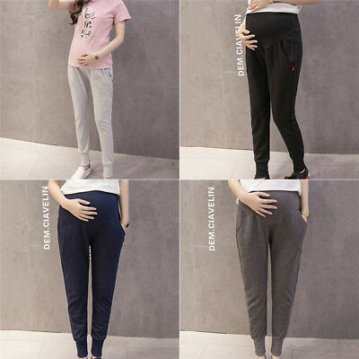 Casual Women Maternity Pregnant Sport Pants Hold up Abdomen Trousers Winter Fall