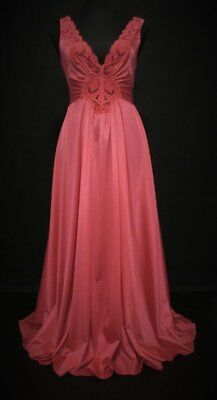Vtg OLGA Nightgown Shimmery Coral Pink Gown #92280 Fab Color A+ Condition Size M