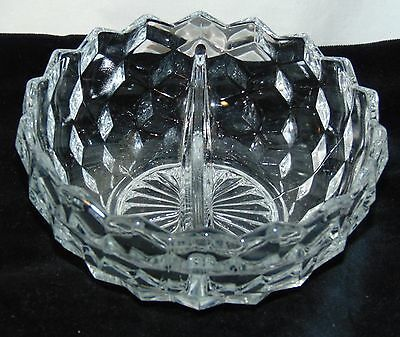 "Fostoria AMERICAN CRYSTAL *5 1/4"" DIVIDED MAYONNAISE BOWL*"