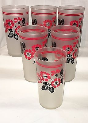 """6 Hall RED POPPY* 5 1/4"""" FROSTED WATER TUMBLERS* Hard To Find*"""