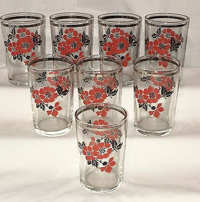 """8 Hall RED POPPY* 3 1/2"""" CRYSTAL/CLEAR JUICE TUMBLERS* PLATINUM* Hard To Find*"""