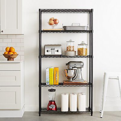 5 Tier Garage Shelving Storage Rack Steel Shelves Commercial 36 x 14 x 72 inches