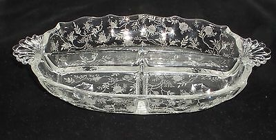 "Fostoria CHINTZ CRYSTAL *12"" 3 PART RELISH*"