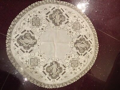 "Antc Bohemian ART DECO Hand Made Normandy Lace NUDE WOMEN Tablecloth  49"" Topper"