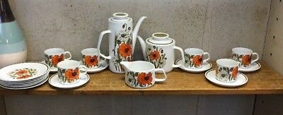 Vintage J & G Meakin Tableware Tea Coffee Set 'Poppy' Free Manchester Delivery