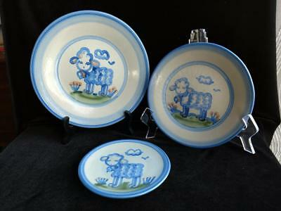 Lot 3 M.A. Hadley Hand Painted Barn Animal SHEEP Plates - 3 Sizes Country Blue