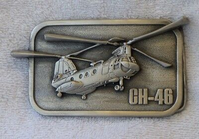 CH-46 Military Collector Series Aircraft Pewter Belt Buckle