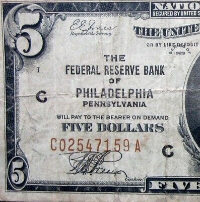 1929 $5 Federal Reserve National Bank Note ✪ Philadelphia ✪ Vf Pa 159 ◢Trusted◣