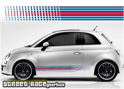 Fiat 500 side racing stripes 056 Martini style decals vinyl graphics stickers