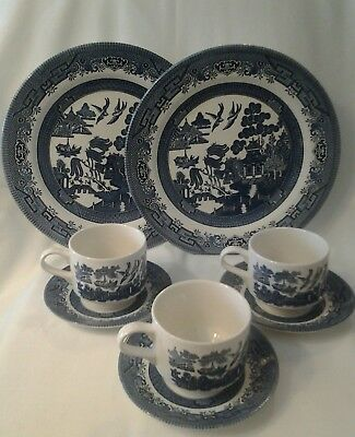 2pcs)BLUE WILLOW PLATES-  3pcs) CUPS & SAUCERS Churchill Staffordshire England