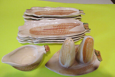 CORN COB SERVING SET, 8 Plates,Salt & Pepper set,Butter pitcher. Our Own Imports