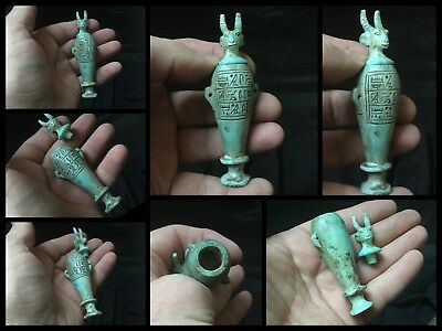 Very Rare Ancient Egyptian Anubis Lidded Blue Faience Jar C300BC,