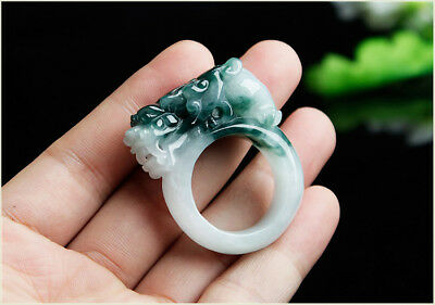 Chinese natural emerald ice blue qiao color jade ring the mythical wild animal