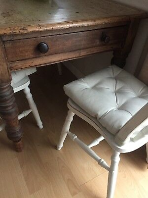 Dining Table, 4 Chairs, Farmhouse, Victorian, Shabby Chic, Old Pine, Antique,