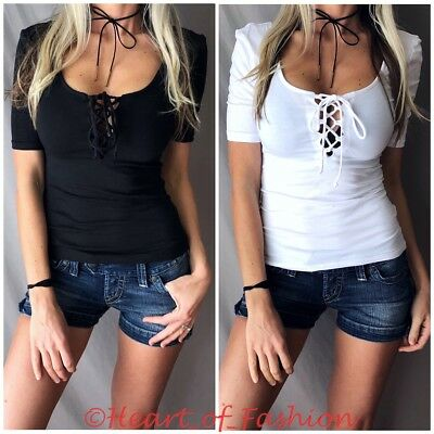 11519da69d SEXY Corset Lace Up Plunge Low Cut Cleavage Double Scoop Neck Stretch Knit  Top