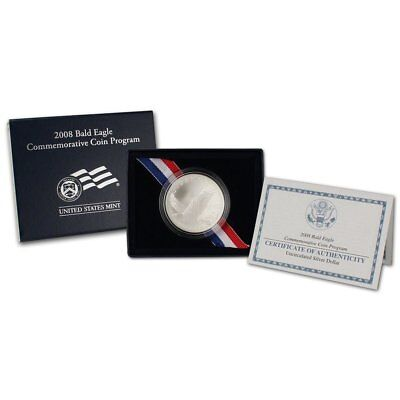"2008 P  ""Bald  Eagle"" Commemorative Dollar , 90% Silver, US Mint Box and CoA"