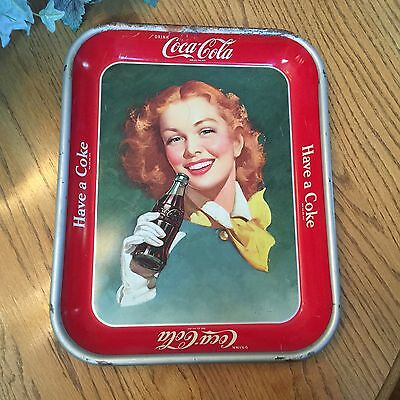 Vintage Authentic 1950's Coca Cola Tray Girl with Yellow Scarf