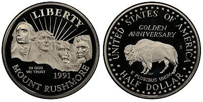 "1991 S PROOF ""Mount Rushmore"" Commemorative Half Dollar , Deep Cameo!"