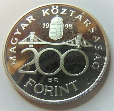 200 Forint Silver PROOF coin from Hungary,  1998