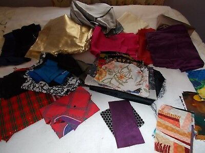 Large Lot Silky Fabric For Makeing Quilts A Few Are All Ready Cut