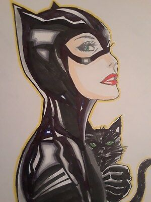 CAT WOMAN ORIGINAL 11x14  ( NOT A PRINT)